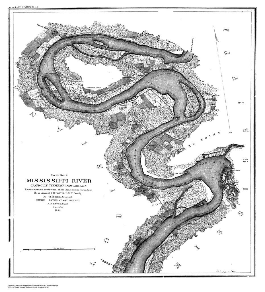 1864 US Map Showing Mississippi River and Grand Gulf Region - 1864 ...