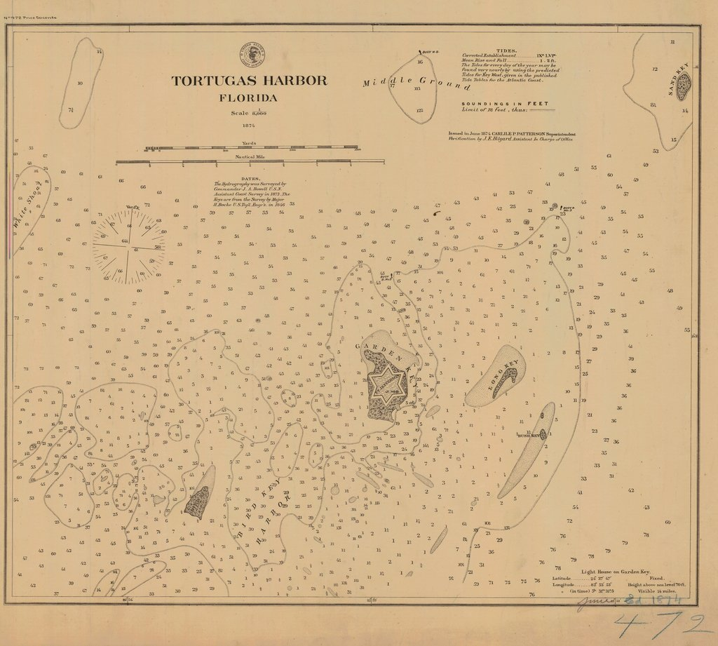 18 x 24 inch 1874 US old nautical map drawing chart of TORTUGAS HARBOR From  NOAA x737