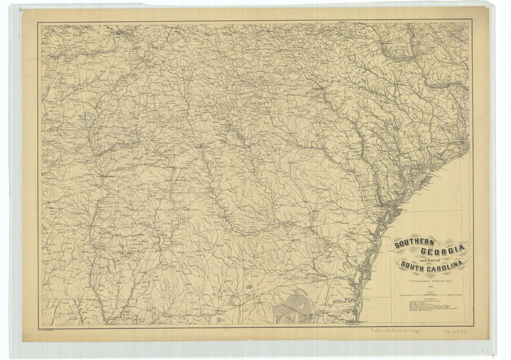 18 x 24 inch 1865 US old nautical map drawing chart of Southern Georgia and Part of South Carolina From  U.S. Coast Survey x971