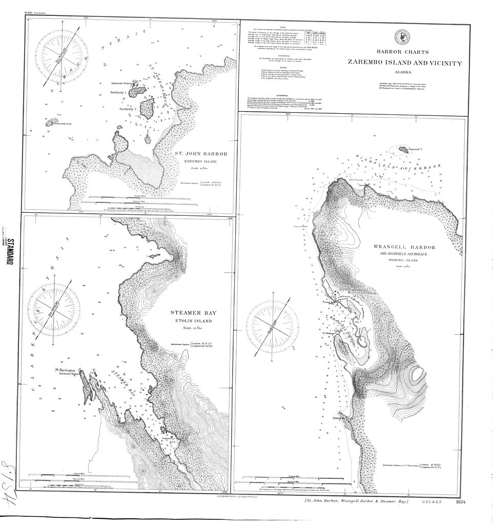 18 x 24 inch 1887 US old nautical map drawing chart of Harbor Charts : Zarembo Island and Vicinity From  NOAA x321