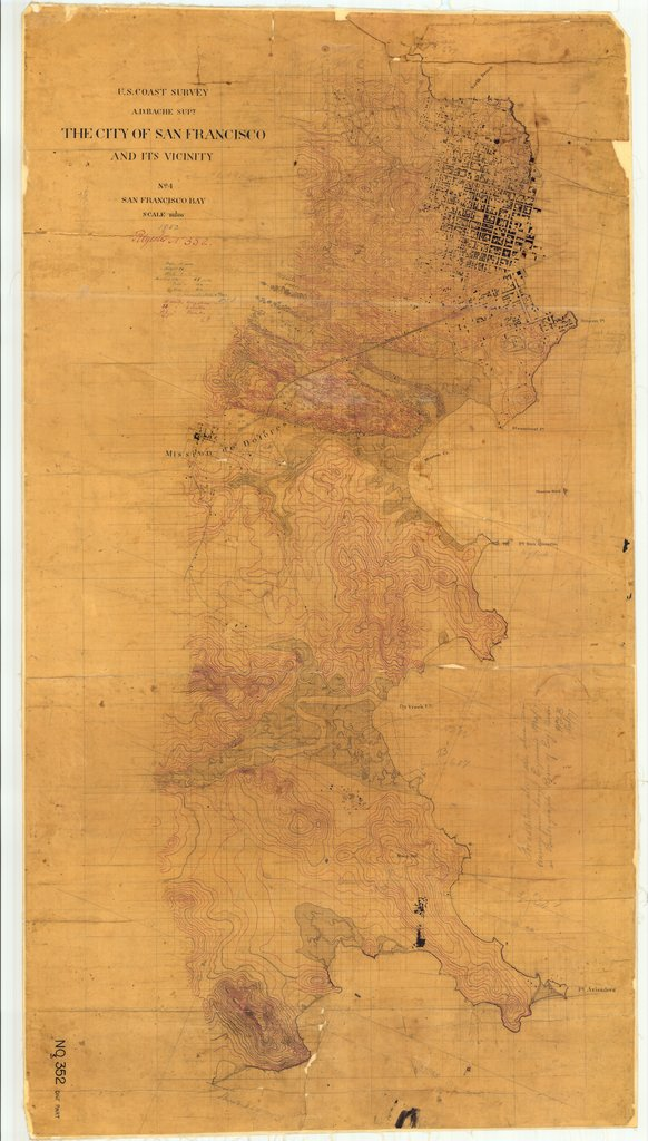 18 x 24 inch 1852 US old nautical map drawing chart of San Francisco and Its Vicinity, CA From  U.S. Coast Survey x1270