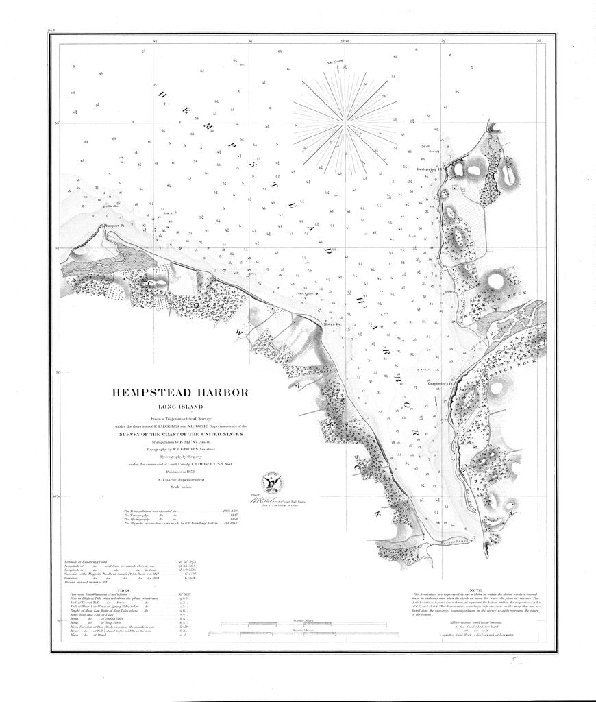 18 x 24 inch 1859 New York old nautical map drawing chart of Hampstead Harbor From  U.S. Coast Survey x6909