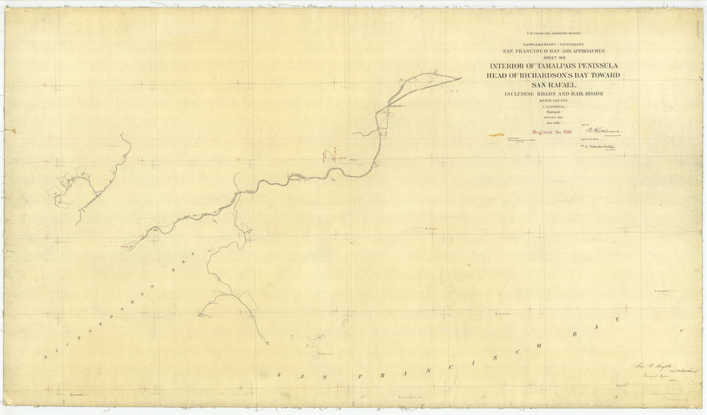 18 x 24 inch 1881 US old nautical map drawing chart of Tamalpais Peninsula - Head of Richardsons Bay Toward San Rafael, CA From  US Coast & Geodetic Survey x2434