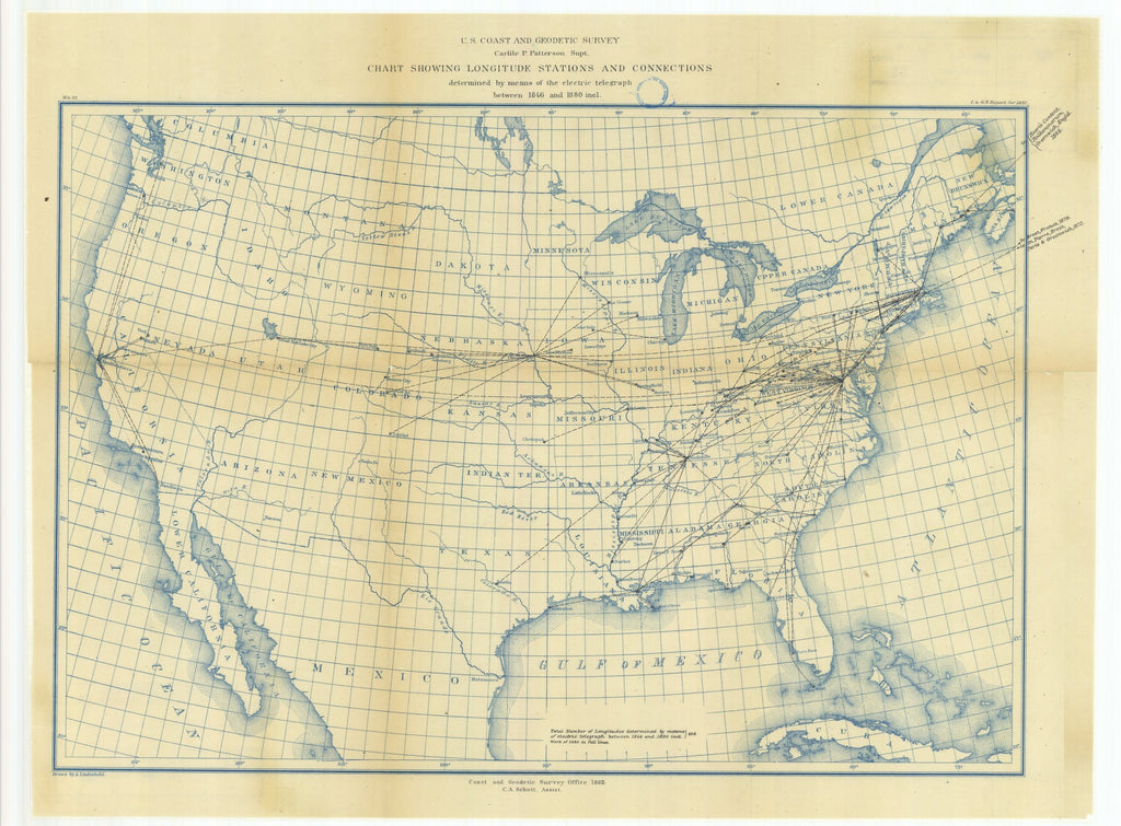 18 x 24 inch 1880 Ohio old nautical map drawing chart of Chart Showing Longitude Stations and Connections Determined by Means of the Electric Telegraph Between 1846 and 1880 From  US Coast & Geodetic Survey x6798