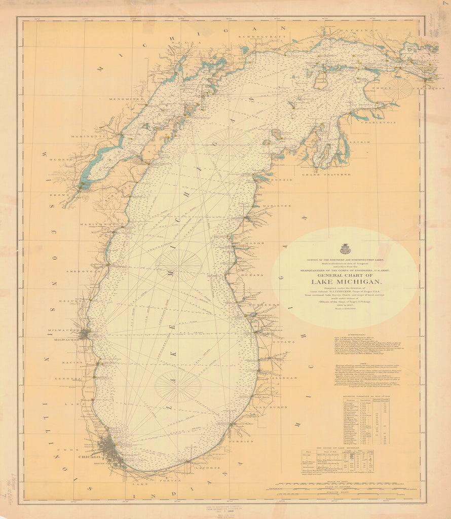 18 x 24 inch 1900 US old nautical map drawing chart of GENERAL CHART OF LAKE MICHIGAN. From  Lake Survey x1802
