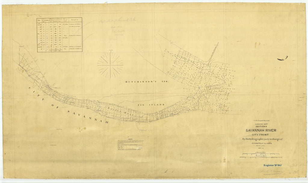 18 x 24 inch 1866 US old nautical map drawing chart of SAVANNAH River City Front From  U.S. Coast Survey x288