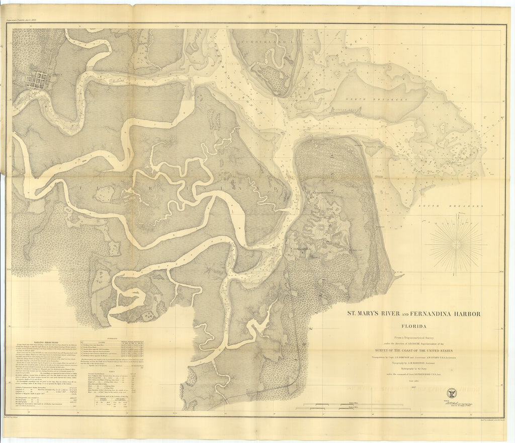 18 x 24 inch 1863 US old nautical map drawing chart of St. Mary's River and Fernandina Harbor From  U.S. Coast Survey x298