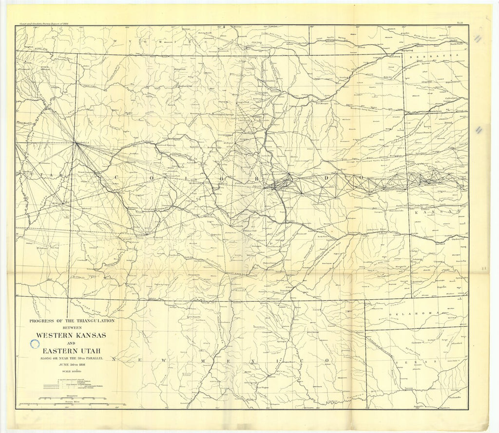 18 x 24 inch 1891 US old nautical map drawing chart of No. 11. Triangulation between eastern Colorado and Utah. From  US Coast & Geodetic Survey x125