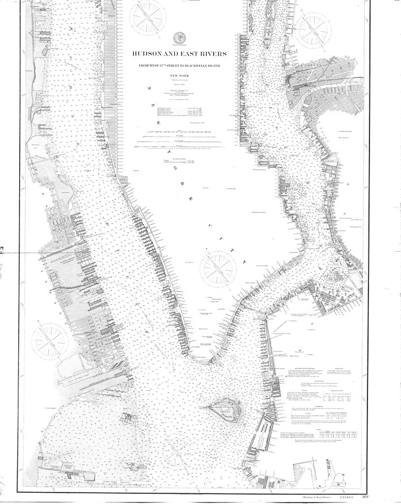 18 x 24 inch 1900 New York old nautical map drawing chart of Hudson and East Rivers From  US Coast & Geodetic Survey x6880