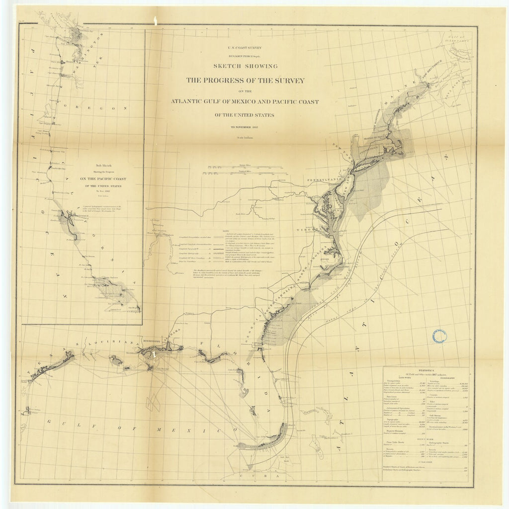 18 x 24 inch 1861 US old nautical map drawing chart of Sketch Showing the Progress of the Survey on the Atlantic Gulf of Mexico and Pacific Coast of the United States to November 1861.. From  U.S. Coast Survey x2259
