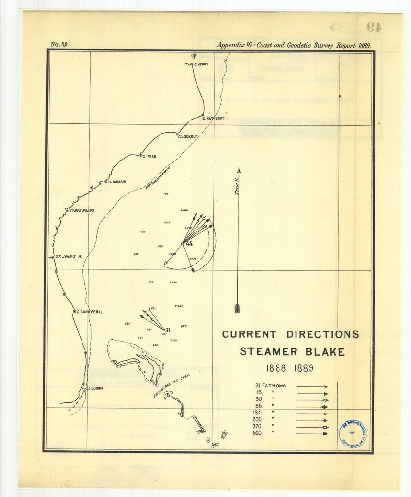 18 x 24 inch 1889 US old nautical map drawing chart of Current directions, steamer Blake, 1888-1889 From  US Coast & Geodetic Survey x1510