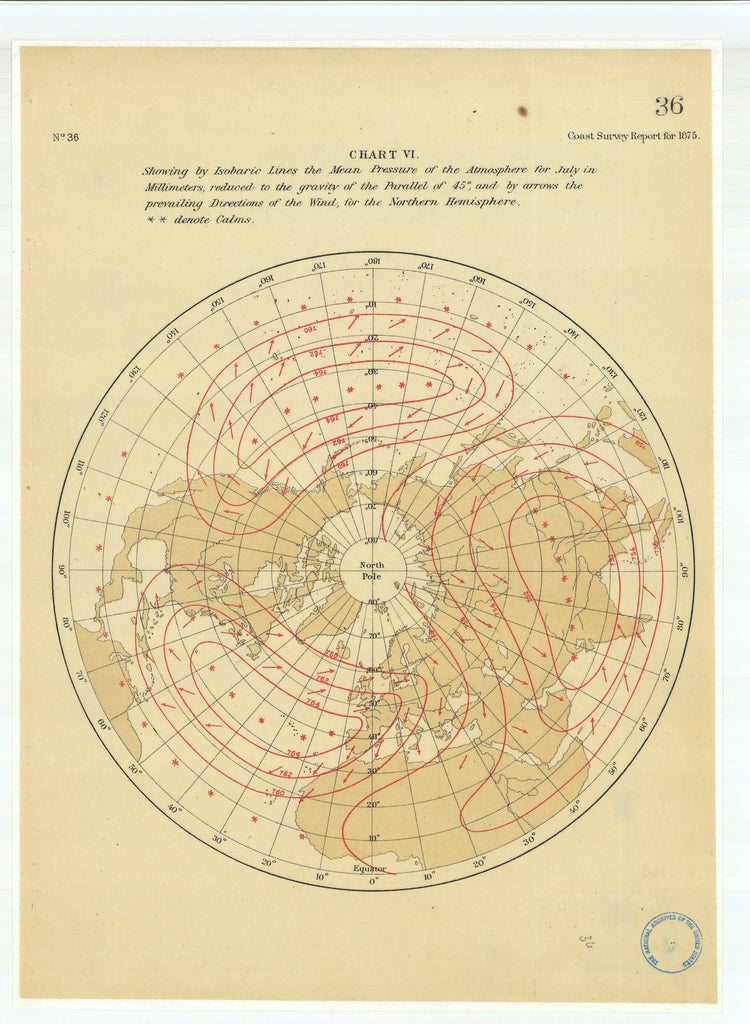 18 x 24 inch 1875 US old nautical map drawing chart of Chart 6 Showing by Isobaric Lines the Mean Pressure of the Atmosphere for July in Millimeters From  U.S. Coast Survey x1793