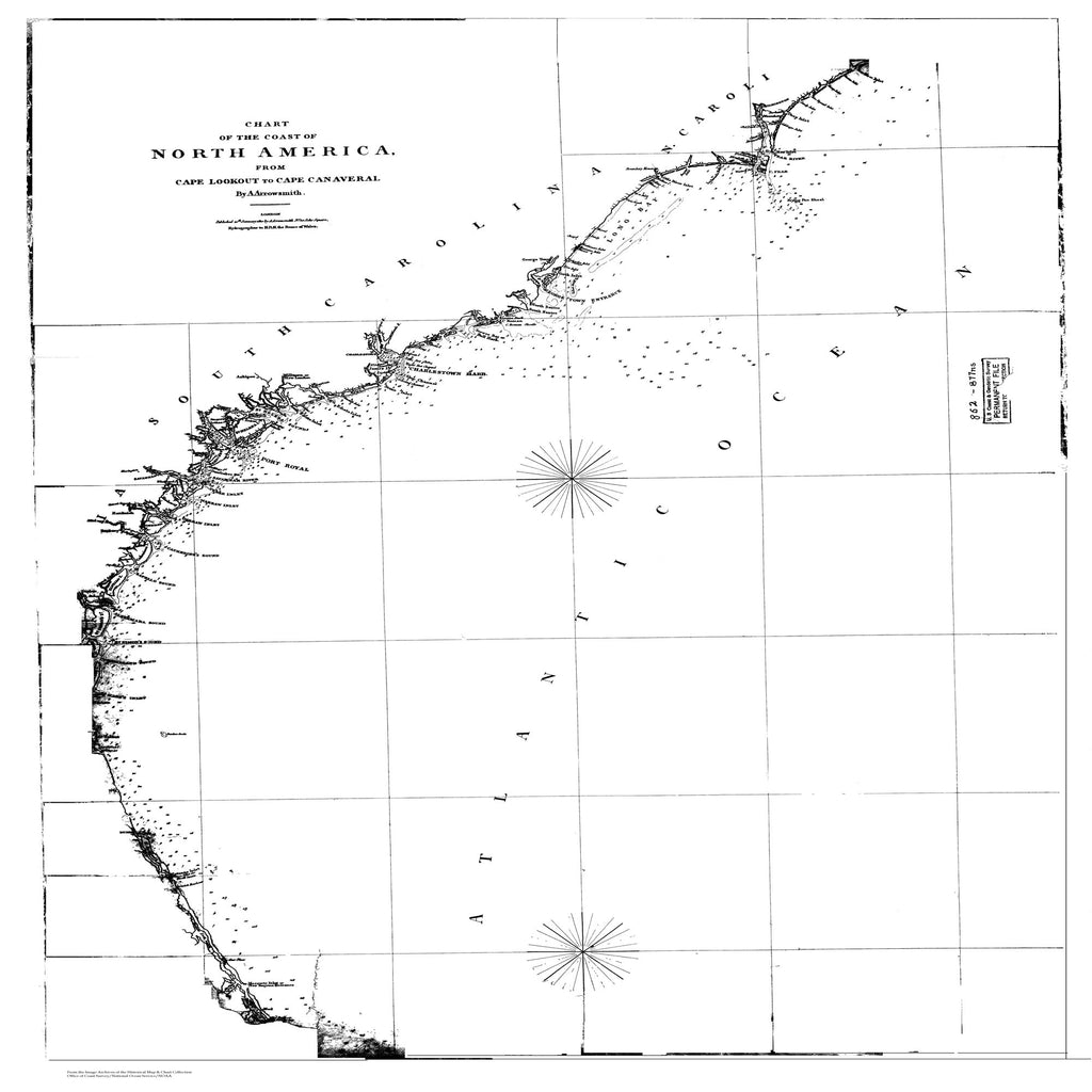 18 x 24 inch 1810 US old nautical map drawing chart of Chart of the Coast of North America From  A. Arrowsmith x3183