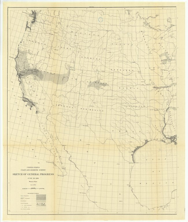 18 x 24 inch 1881 US old nautical map drawing chart of Sketch of General Progress, June 30, 1881, Western Sheet From  US Coast & Geodetic Survey x148