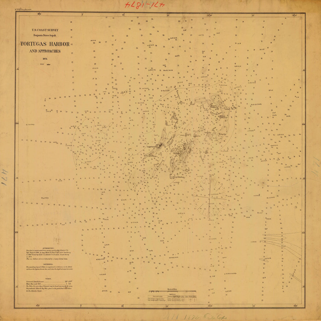 18 x 24 inch 1874 US old nautical map drawing chart of TORTUGAS HARBOR AND APPROACHES From  U.S. Coast Survey x1786