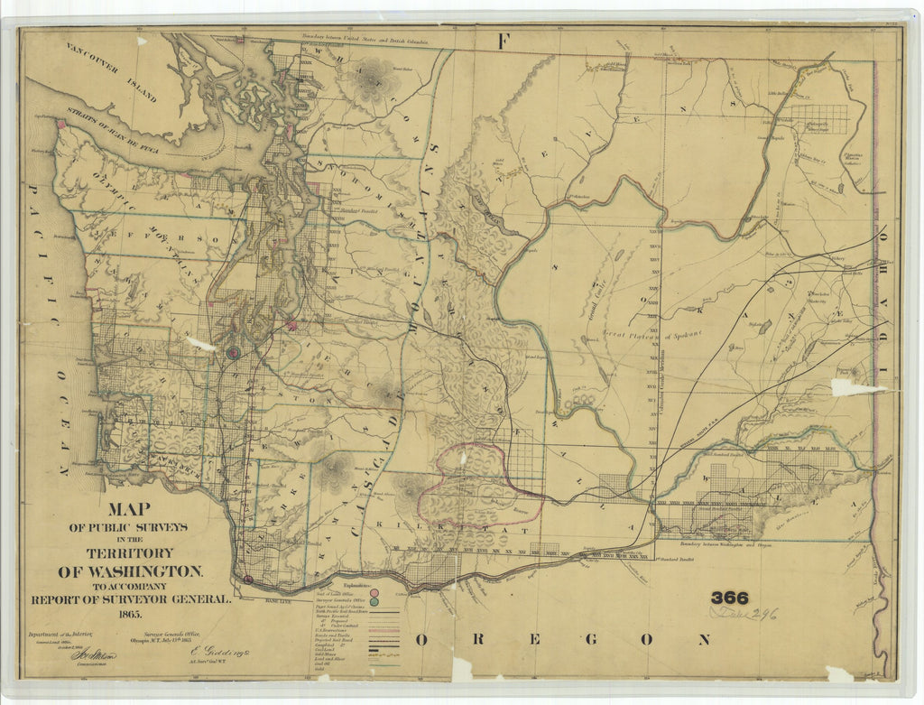 18 x 24 inch 1865 Washington old nautical map drawing chart of Map of Public Surveys in the Territory of Washington for the Report of Surv. Genl. 1865 From  : Surveyor General Office x11795