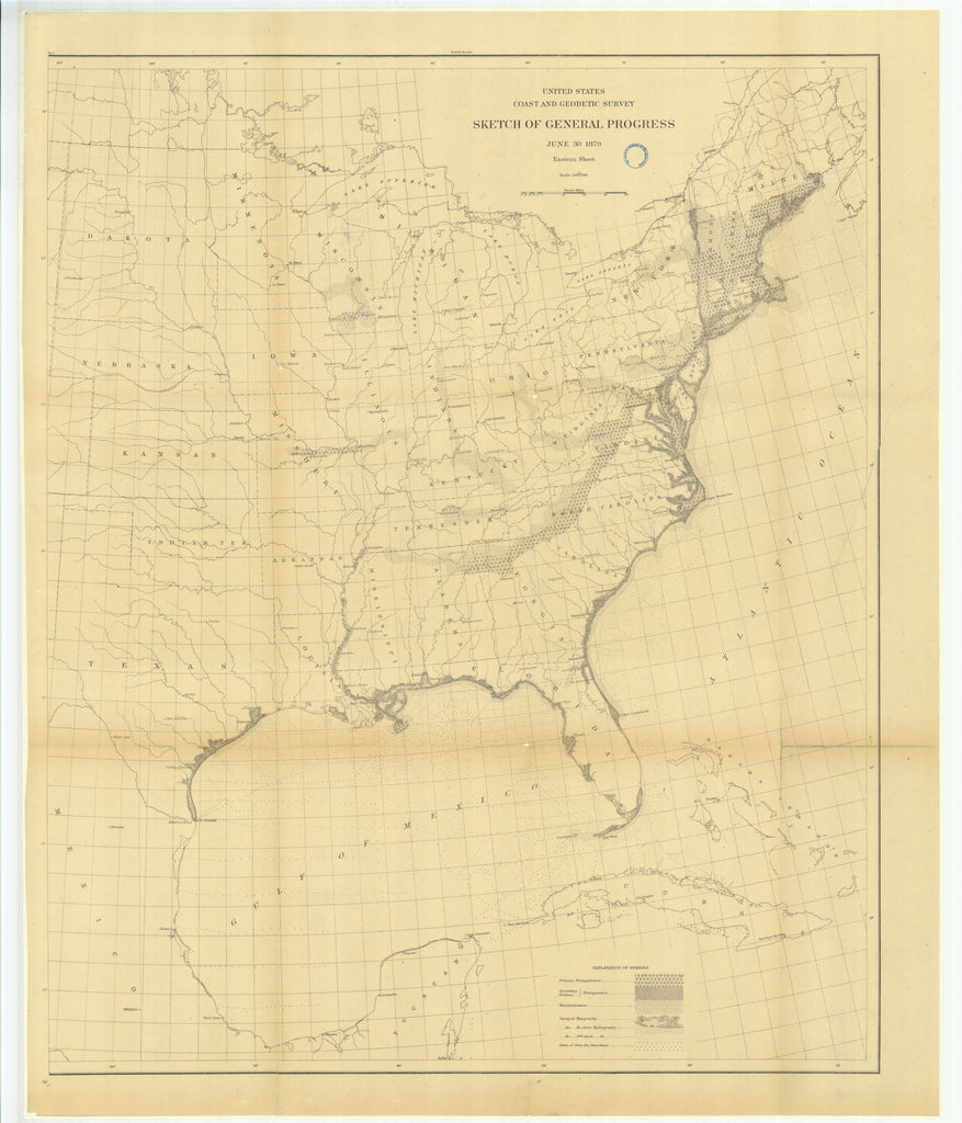18 x 24 inch 1879 US old nautical map drawing chart of Sketch of General Progress, Eastern Sheet From   US Coast & Geodetic Survey x1828