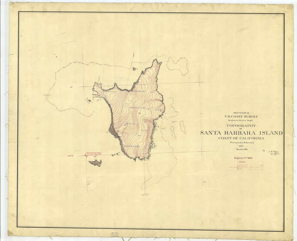 18 x 24 inch 1871 US old nautical map drawing chart of Topography of Santa Barbara Island, CA From  U.S. Coast Survey x2056