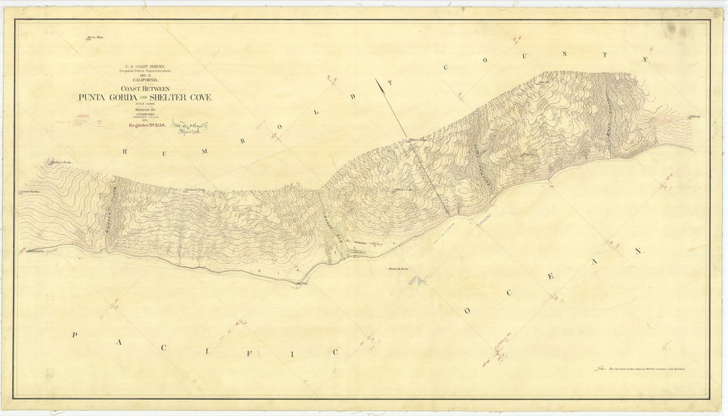 18 x 24 inch 1871 US old nautical map drawing chart of Coast Between Punta Gorda and Shelter Cove From  U.S. Coast Survey x455