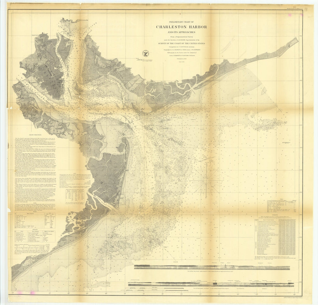 18 x 24 inch 1858 South Carolina old nautical map drawing chart of Preliminary Chart of Charleston Harbor and its Approaches From  U.S. Coast Survey x8137