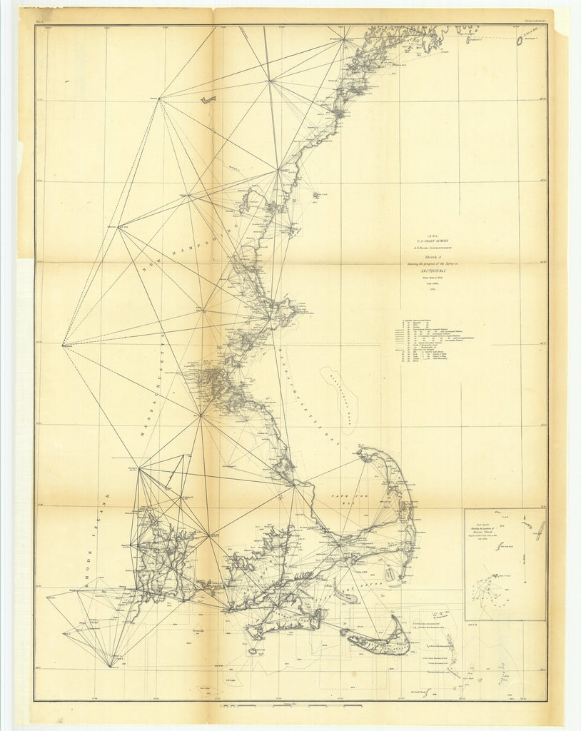 18 x 24 inch 1854 US old nautical map drawing chart of Sketch A Showing the Progress of the Survey in Section Number 1 from 1844 to 1854 with Sub Sketch Showing the Position of Davis' Shoal From  U.S. Coast Survey x3952