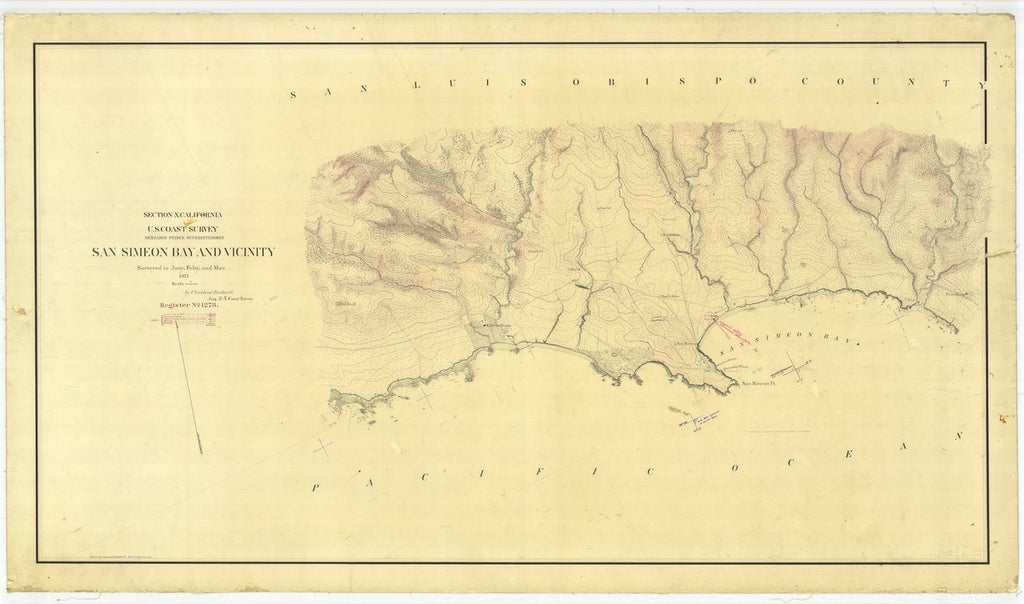 18 x 24 inch 1871 US old nautical map drawing chart of San Simeon Bay and Vicinity, California From  U.S. Coast Survey x447