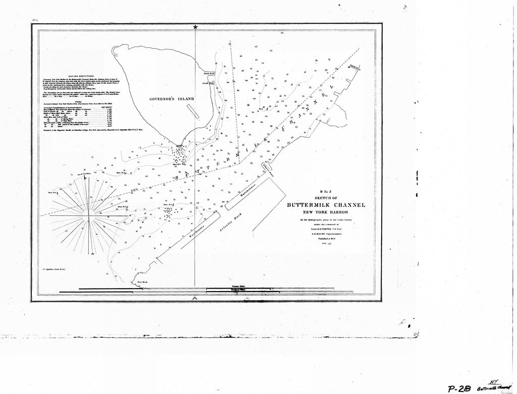 18 x 24 inch 1849 New York old nautical map drawing chart of BUTTERMILK CHANNEL NEW YORK HARBOR From  U.S. Coast Survey x6350
