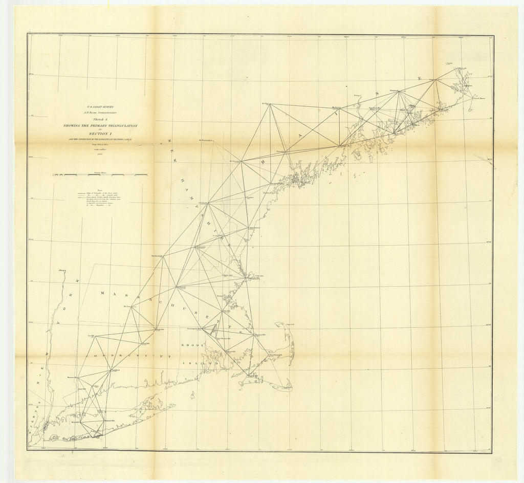 18 x 24 inch 1863 New Hampshire old nautical map drawing chart of Sketch A Showing the Primary Triangulation in Section 1 and the Connection of the Baselines in Section 1 and 2 from 1844 to 1863 From  U.S. Coast Survey x6821
