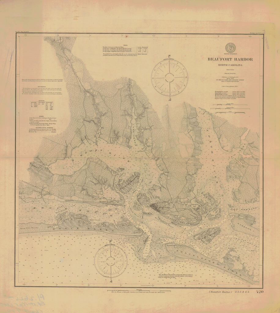 18 x 24 inch 1900 North Carolina old nautical map drawing chart of BEAUFORT HARBOR From  US Coast & Geodetic Survey x6533