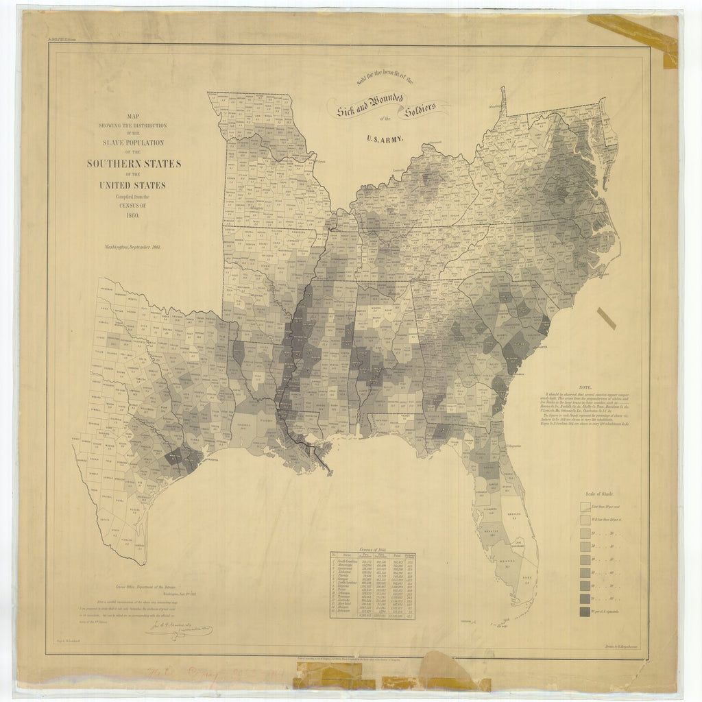 18 x 24 inch 1861 Mississippi old nautical map drawing chart of Map Showing the Distribution of the Slave Population of the Southern States of the United States From  U.S. Coast Survey x6477