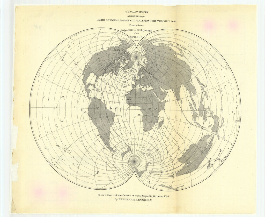 18 x 24 inch 1859 US old nautical map drawing chart of Lines of Equal Magnetic Variation for the Year 1858 Projected on a Polyconic Development of the Sphere From   U.S. Coast Survey x2212