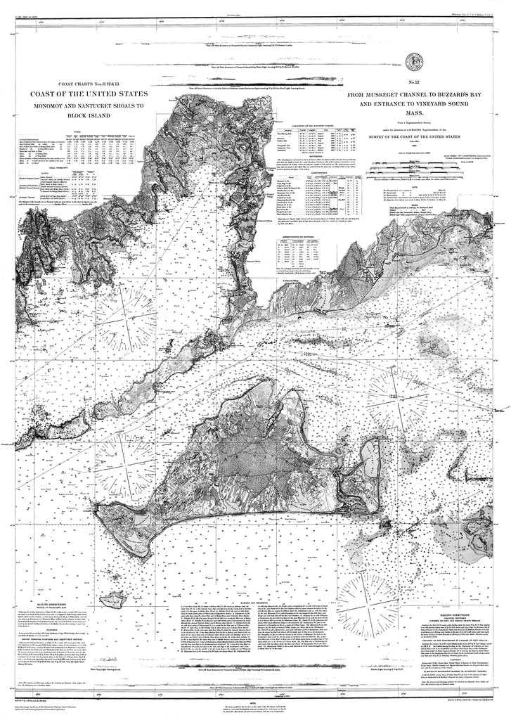 18 x 24 inch 1860 US old nautical map drawing chart of Navigation Charts of the Coast of the US from Monomoy and Nantucket Shoals to Block Island and from Muskeget Channel to Buzzard's Bay and Entrance to Vineyard Sound From  U.S. Coast Survey x3483