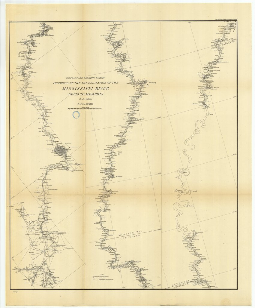 18 x 24 inch 1883 US old nautical map drawing chart of Progress of the Triangulation of the Mississippi River, Delta to Mississippi From  US Coast & Geodetic Survey x261