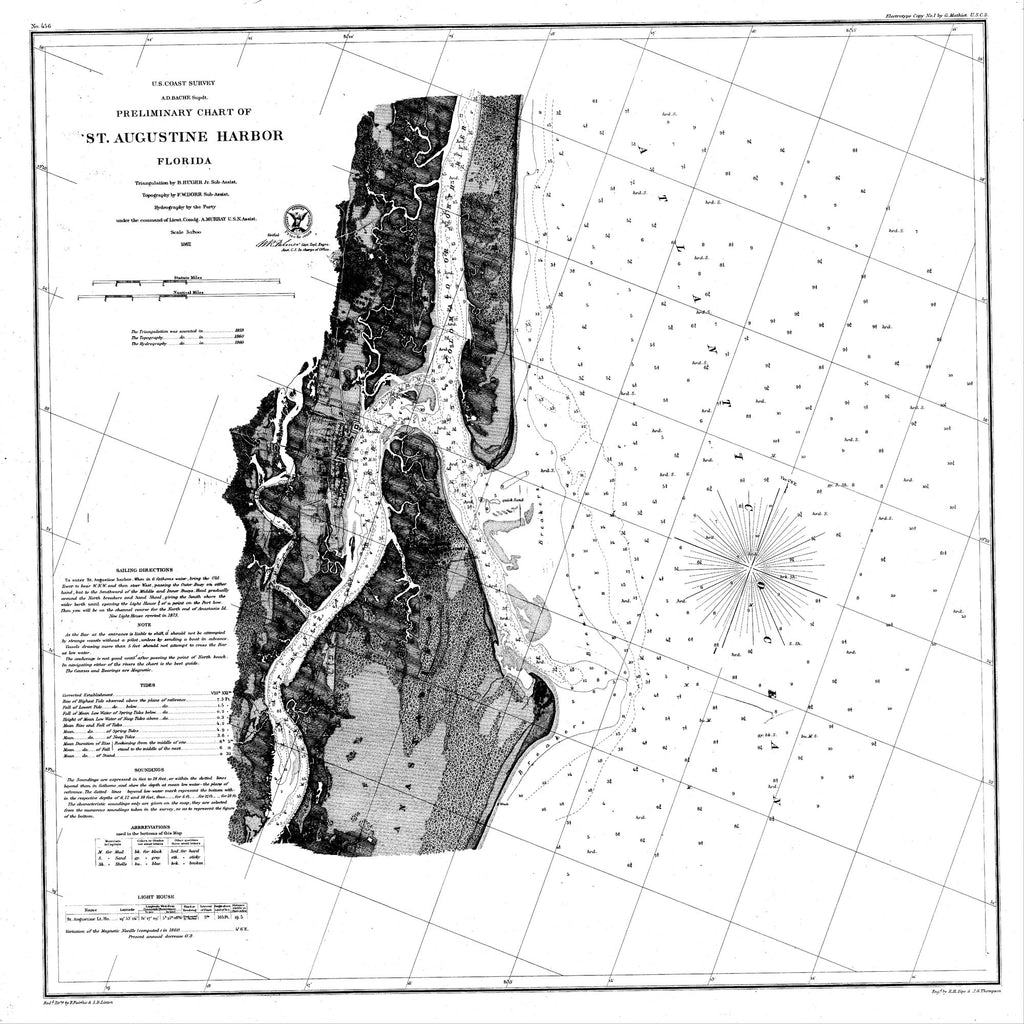 18 x 24 inch 1861 US old nautical map drawing chart of St. Augustine Harbor From  U.S. Coast Survey x1344