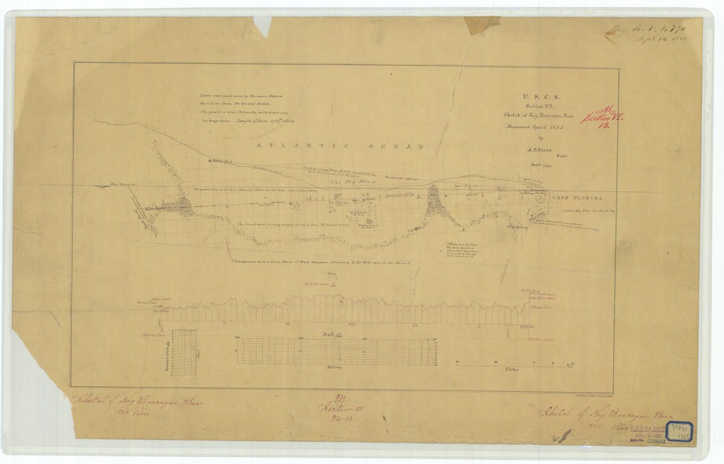 18 x 24 inch 1855 US old nautical map drawing chart of Sketch of Key Biscayne Base From  U.S. Coast Survey x749