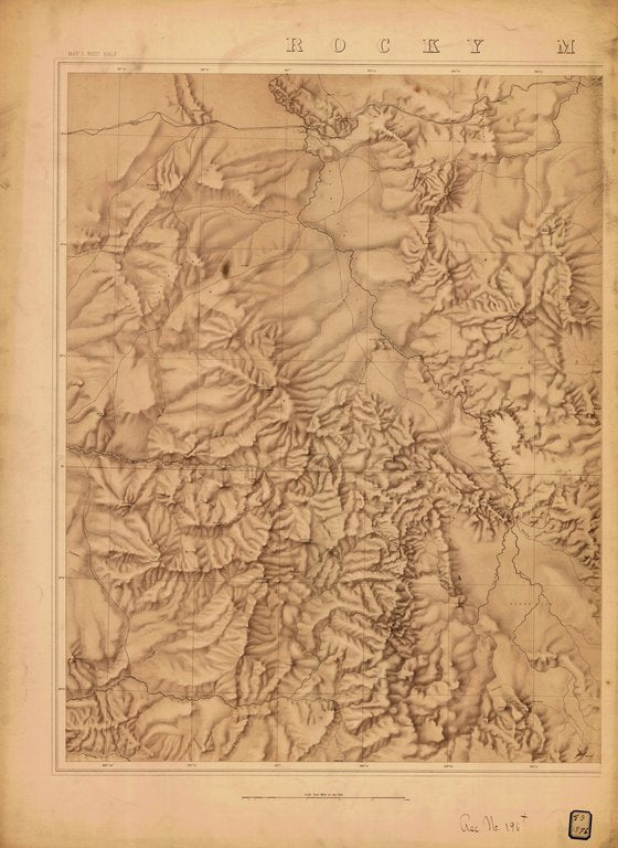 18 x 24 inch 1876 US old nautical map drawing chart of ROCKY MOUNTAINS MAP NO.1 WEST HALF From  NOAA x273