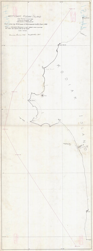 18 x 24 inch 1848 US old nautical map drawing chart of WEST COAST KODIAK ISLAND CAPE KARLUK TO LOW CAPE From  NOAA x1421