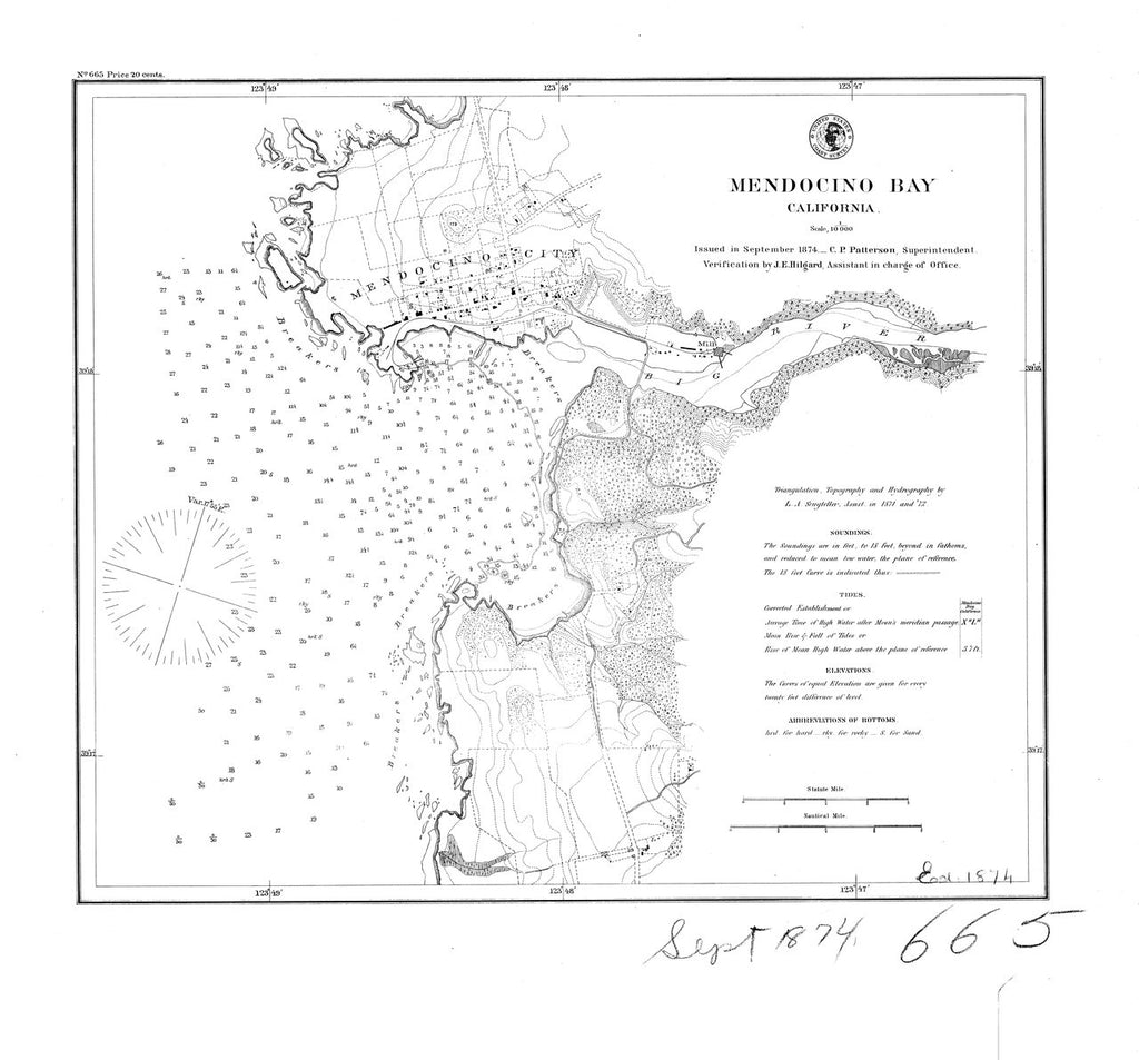 18 x 24 inch 1874 US old nautical map drawing chart of Mendocino Bay From  C&GS x489