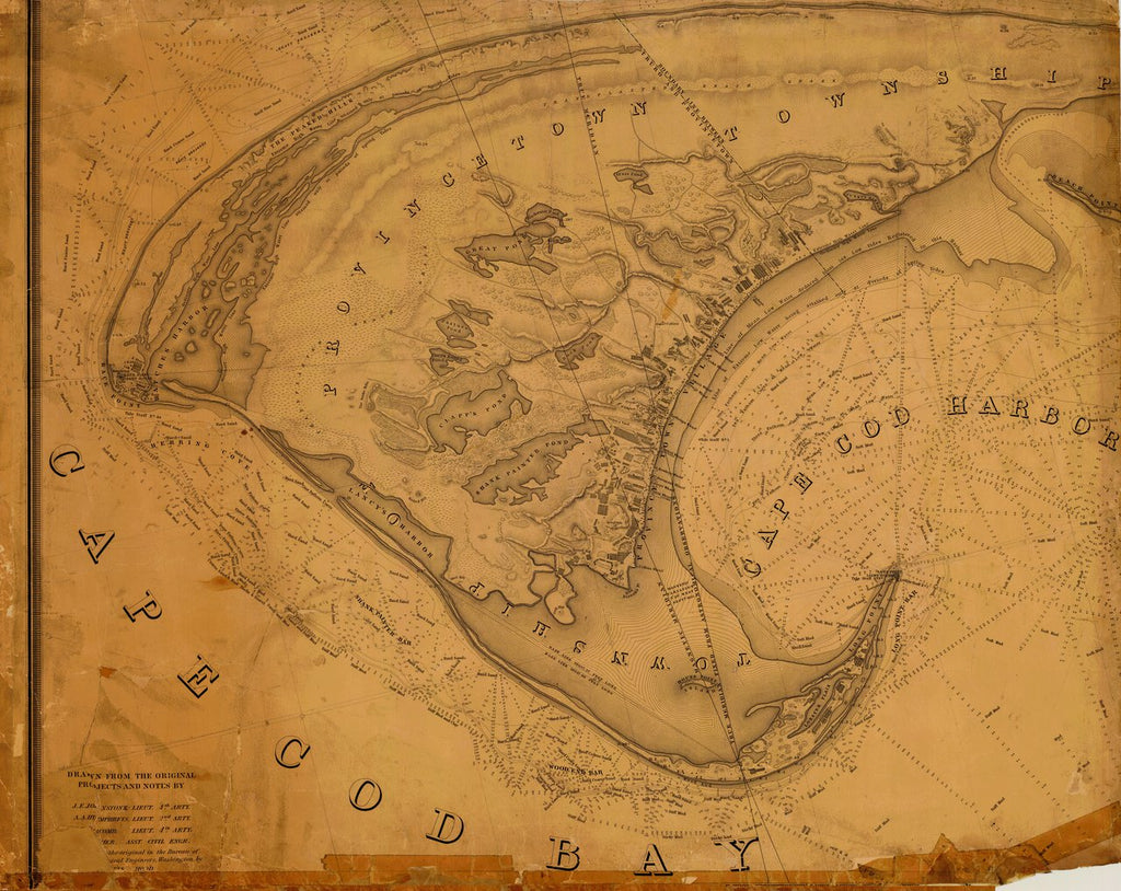 18 x 24 inch 1833 US old nautical map drawing chart of CAPE COD BAY 2-2 From  NOAA x2692