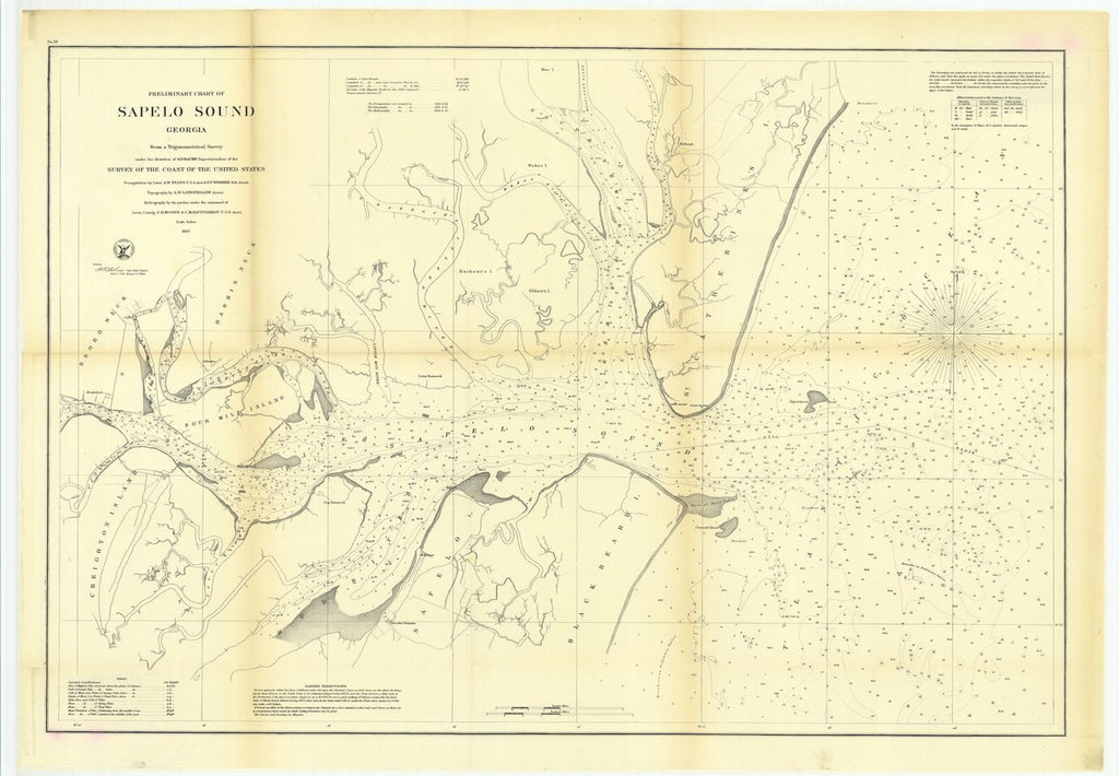 18 x 24 inch 1859 US old nautical map drawing chart of Preliminary Chart of Sapelo Sound, Georgia From  U.S. Coast Survey x316