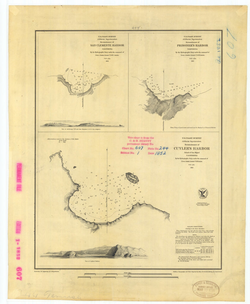 18 x 24 inch 1852 US old nautical map drawing chart of Reconnaissance of San Clemente Harbor California Prisoner's Harbor California and Cuyler's Harbor Island of San Miguel California From  U.S. Coast Survey x4253