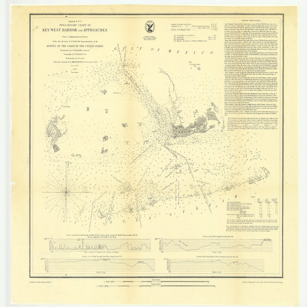 18 x 24 inch 1852 US old nautical map drawing chart of Preliminary Chart of Key West Harbor and Approaches From  U.S. Coast Survey x2512