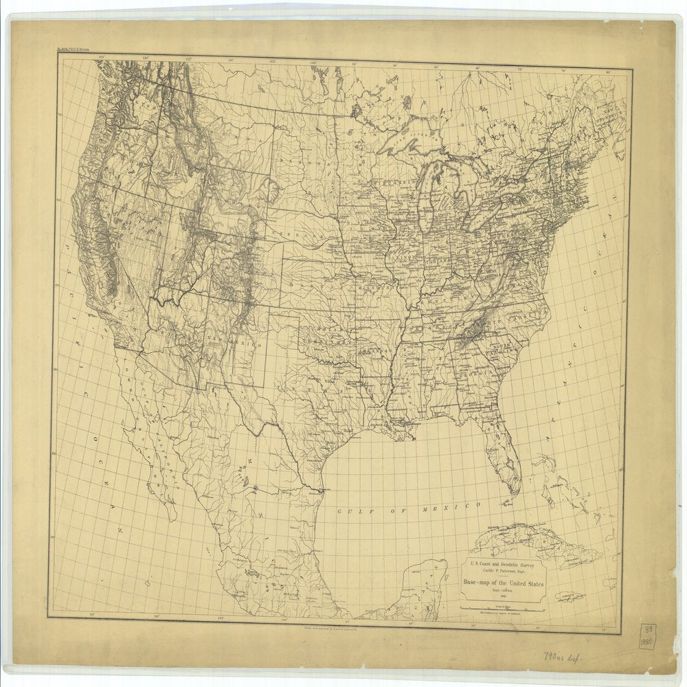18 x 24 inch 1880 US old nautical map drawing chart of Base map of the United States From  US Coast & Geodetic Survey x63