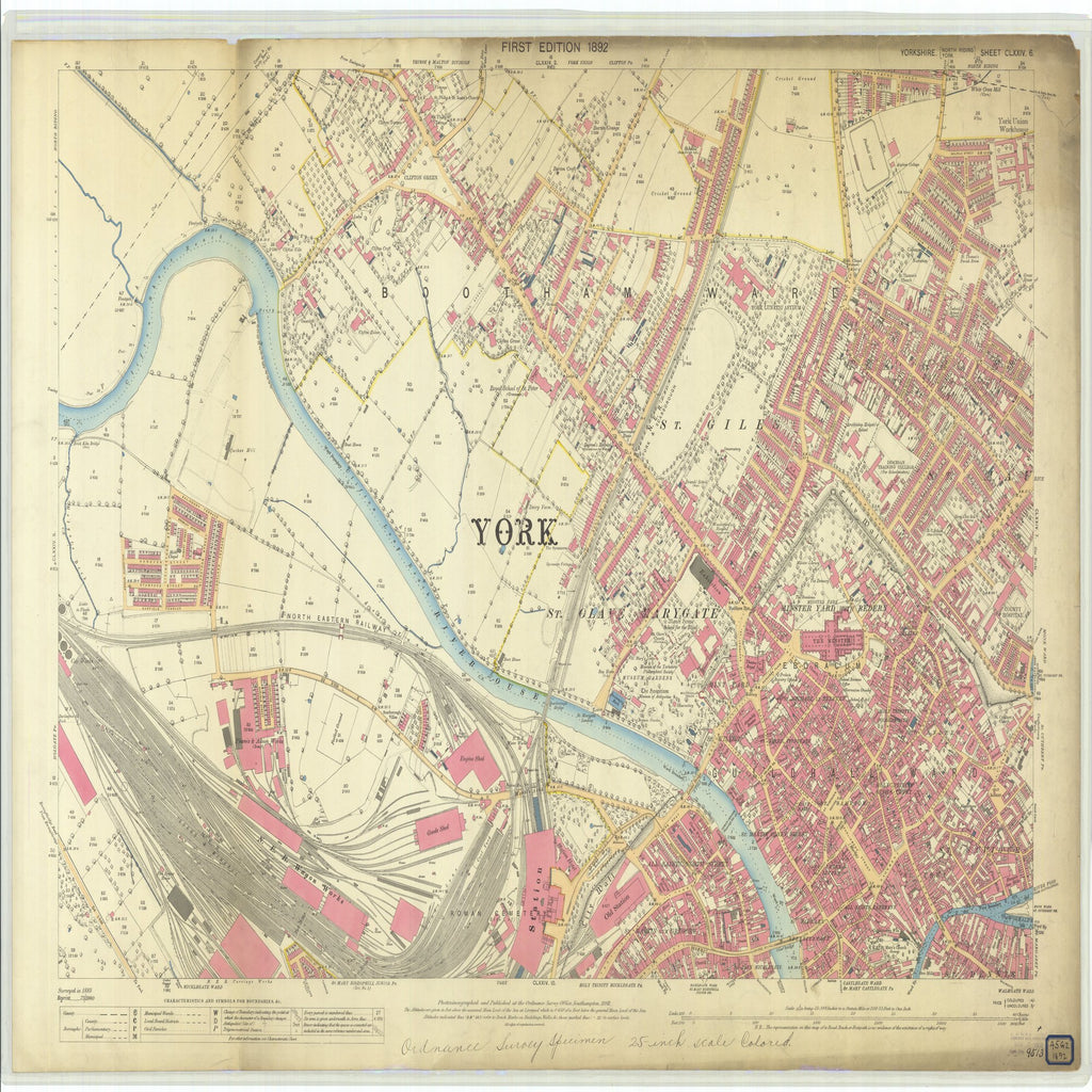 18 x 24 inch 1892 OTHER old nautical map drawing chart of Yorkshire From  Ordnance Survey Office x7255
