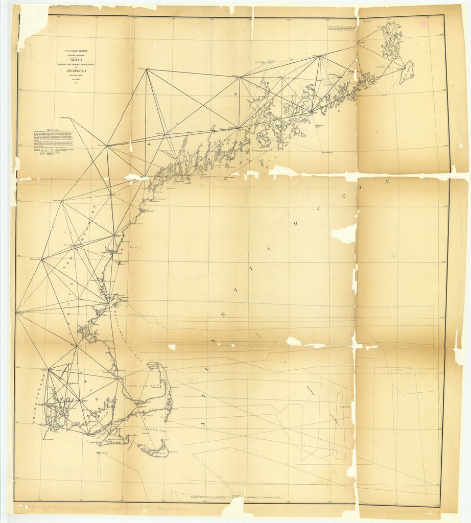 18 x 24 inch 1858 New Hampshire old nautical map drawing chart of Sketch A Showing the Primary Triangulation in Section Number 1 from 1844 to 1858 From   U.S. Coast Survey x6815