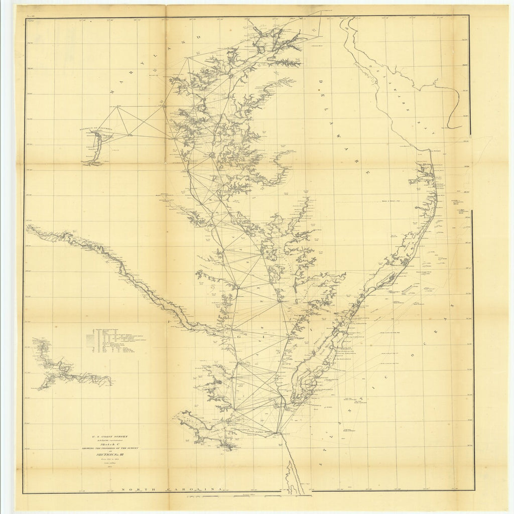 18 x 24 inch 1855 US old nautical map drawing chart of Sketch C Showing the Progress of the Survey in Section Number 3 from 1843 to 1855 From  U.S. Coast Survey x1905