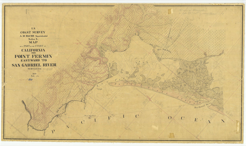 18 x 24 inch 1859 US old nautical map drawing chart of Point Fermin Eastward To San Gabriel River, CA From  U.S. Coast Survey x1677