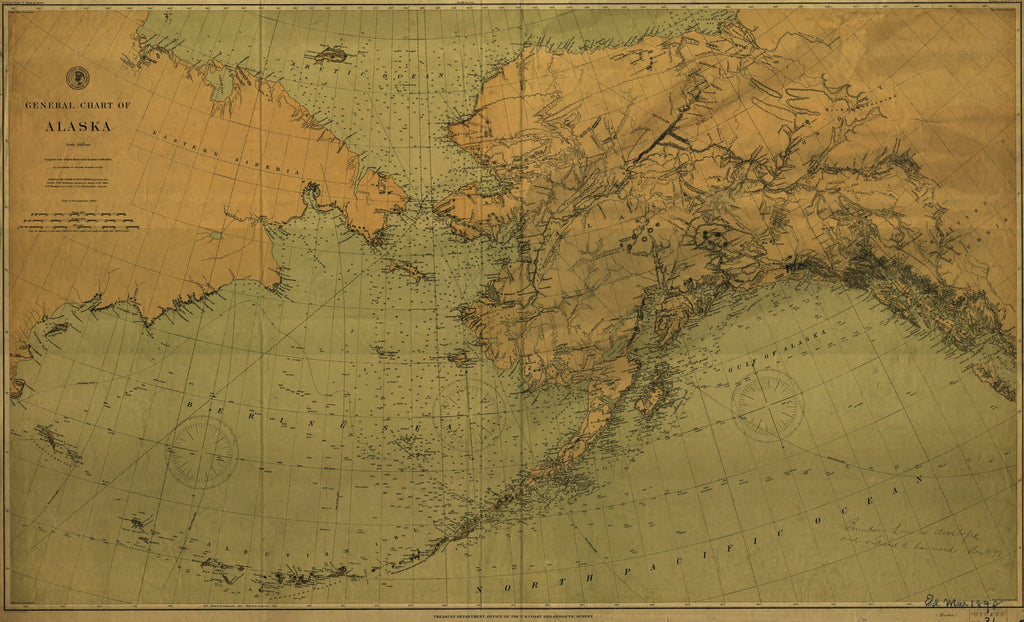 18 x 24 inch 1890 US old nautical map drawing chart of General Chart of Alaska From  NOAA x884