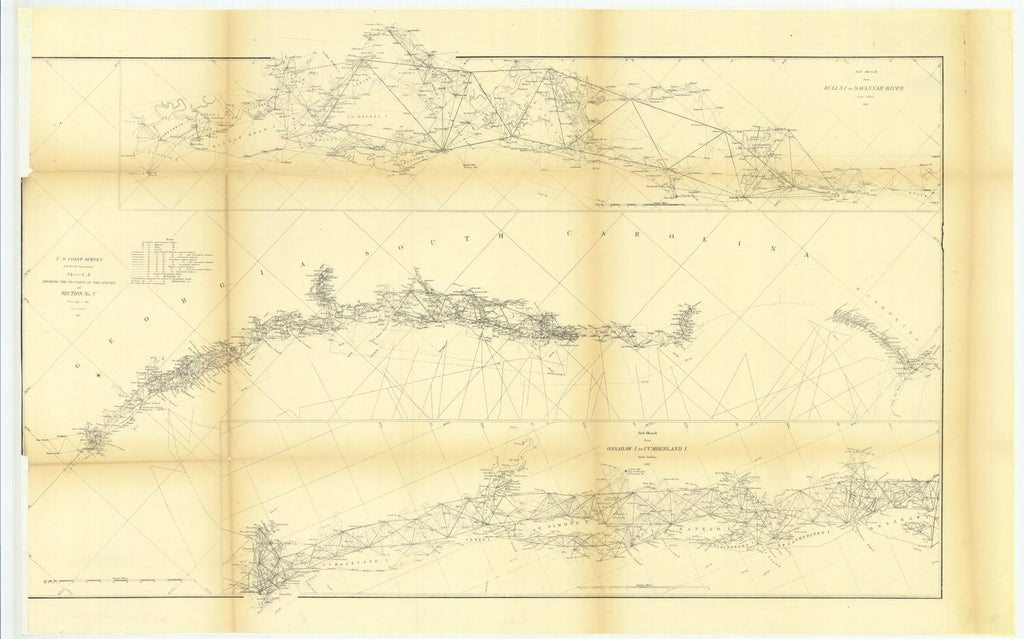 18 x 24 inch 1861 South Carolina old nautical map drawing chart of Progress sketch, Section V. From  US Coast & Geodetic Survey x9065