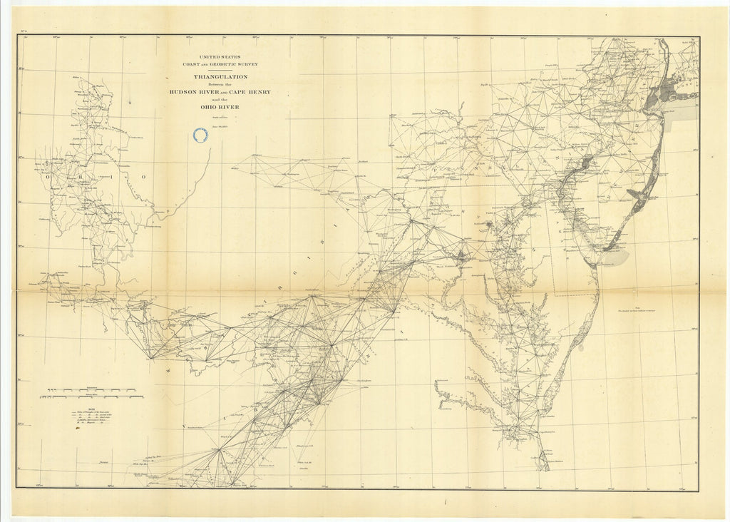 18 x 24 inch 1883 Ohio old nautical map drawing chart of Triangulation Between the Hudson River and Cape Henry and the Ohio River From  US Coast & Geodetic Survey x6752
